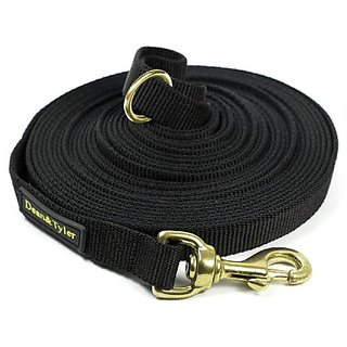 Dean & Tyler Track Single Ply Black Nylon 120-Feet by 3/4-Inch Dog Leash with a Ring on Handle and Solid Brass Snap Hook