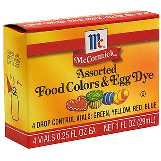 McCormick Food Colors & Egg Dye, Four Assorted, 0.25-Ounce Vials (Pack of 3)