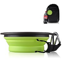 Travel Dog Bowl,Pet Collapsible Food Water Bowls,Traveling Camping Hiking Portable Feeder Dish-With Free Carabiner Belt