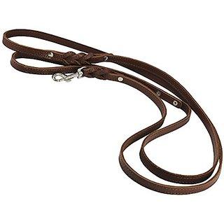 6 Genuine Leather Braided Dog Leash Brown 3/8