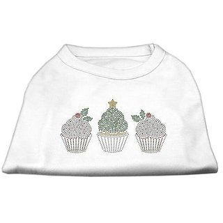 Mirage Pet Products Christmas Cupcakes Rhinestone Pet Shirt, 3X-Large, White