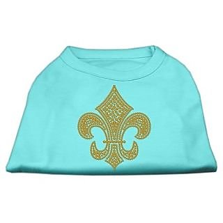 Mirage Pet Products Gold Fleur De Lis Rhinestone Pet Shirt, Large, Aqua