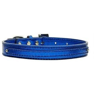 Mirage Pet Products 3/8-Inch Metallic 2-Tier Dog Collar, Medium, Blue