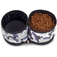 Charm Pet Travel Foldable Dual Food & Water Waterproof Bowl For Cats & Dog