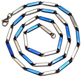 Men Style Blue Silver Plated Plain Classic Design Necklaces (22 Inch Long)  Blue Silver Chain