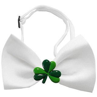 Mirage Pet Products 47-29 WT Shamrock Chipper White Bow Tie, Small