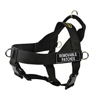 DT Universal No Pull Dog Harness, Clear Patches, Black, Large, Fits Girth Size: 31-Inch to 42-Inch
