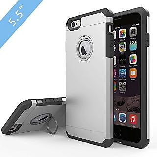 iPhone 6s Plus Case, JEMACHE Silicone Shock Absorber Corner Heavy Duty Solid Armor Silver Case for iPhone 6+/6s+ (5.5 in