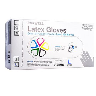 Daxwell Natural Rubber Latex Glove, Powder-Free, Large, Ivory (1,000 Gloves)