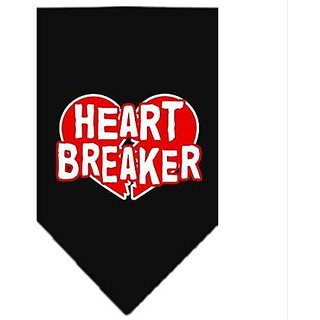 Mirage Pet Products Heart Breaker Screen Print Bandana for Pets, Large, Black