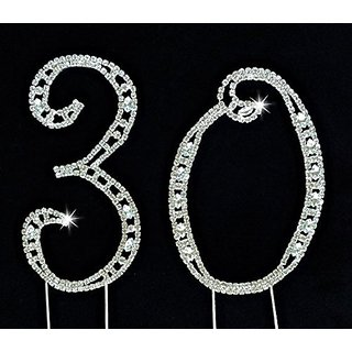 30th Birthday Cake Topper - Large 4.5 Inches Tall 30th Wedding Anniversary Cake Topper - Acrylic Rhinestone Number Cake