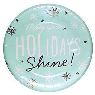 C.R. Gibson TW10-17605 8 Count Paper Dinner Plates, Holiday Shine, Blue/Gold