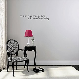 Design with Vinyl Moti 2181 1 Decal - Peel & Stick Wall Sticker : There Once was A Boy who Loved A Girl Lettering Quote