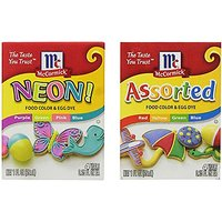 Food Color And Egg Dye Pack With (1) Neon Purple, Green, Pink And Blue 4-pack And; (1) Assorted Red, Yellow, Green And B