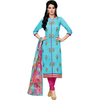 Sareemall Sky Blue Embellished Embroidered Chanderi Cotton Dress Material With Matching Dupatta