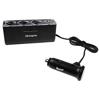 IDEAPRO 3-Socket Cigarette Lighter Socket Charger with 1 USB Ports Cup Car Charger for Samsung Galaxy S5, S4, S3, Splitt
