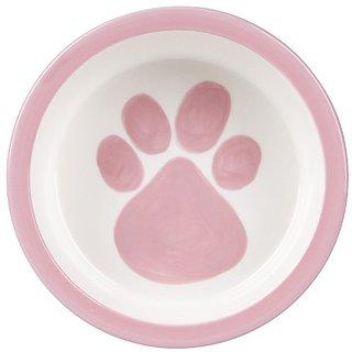 Melia Pet Paw Ceramic Dog Bowl - Pink - Medium