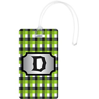 Rikki Knight D Initial GBG Plaid Monogrammed Flexi Luggage Tags, White