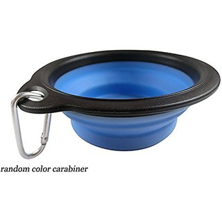 Black MenbaFoldable Water Feeder Bowl Travel Bowl with Carabiner for dog cat