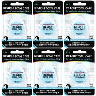 Reach Total Care Floss, Mint, 30-Yard Dispensers (Pack of 6)