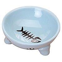 Gomass Pet Supplies Fishbone Grain Tripods Cat And Dog Bowl High Quality Ceramic Bowl Feeder (blue)