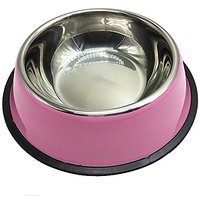 Pet Cuisine Stainless Steel Bowls Dogs Cats Non-Slip Food Water Drinking Dishes Feeder Size5 Pink