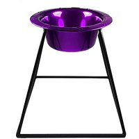 Platinum Pets Pyramid Diner Stand With 2-Cup Stainless Steel Bowl, Electric Purple