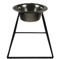 Platinum Pets Pyramid Diner Stand With 8-Cup Stainless Steel Bowl, Black Chrome
