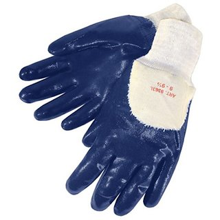 Liberty 9363SP Nitrile Heavyweight Palm Coated Glove with Knit Wrist and Jersey Lined, Chemical Resistant, Large, Blue (