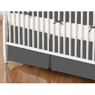 SheetWorld - Crib Skirt (28 x 52) - Flannel - Dark Grey - Made In USA