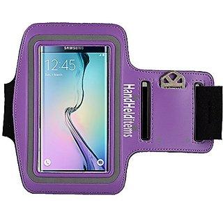 Galaxy S6 Edge Armband, Armband with Key Holder Pocket For Samsung Galaxy S6 Edge PURPLE. Armband Fits Small to Large Ar