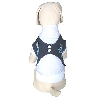 UP-Collection White T-Shirt with Denim Look Dog Vest, Small