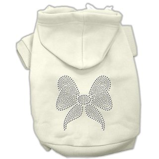 Mirage Pet Products 10-Inch Rhinestone Bow Hoodies, Small, Cream