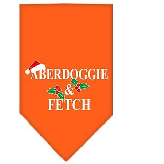 Mirage Pet Products Aberdoggie Christmas Screen Print Bandana for Pets, Large, Orange