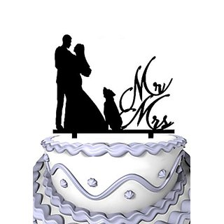 Meijiafei Bride and Groom with Little Dog Mr and Mrs Cake Topper