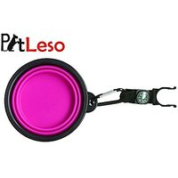 Pet Leso Dog Water Bowl Feeder Cat Bowls Portable Pet Travel Bowl Water With Carabiner Compass -Purple