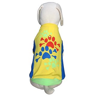 UP-Collection The Fun Bright Paws Print Dog T-Shirt, Small