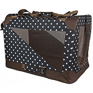 Pet Life 360-Degree Vista-View Soft Folding Collapsible Dog Crate, Small, Polka Dot