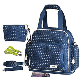 Landuo 2Pcs Small Dots Multifunctional Baby Diaper Nappy Bag Backpack Blue