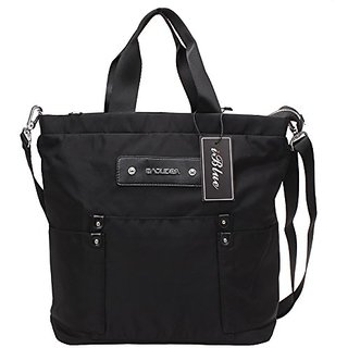 Iblue Small Travel Tote Satchel Messenger Shoulder Crossbody Handbag 12.5 In #BL03 (S, black)