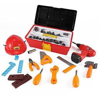 My Workshop Construction Tool Box Toy Set for Kids with Hard Hat + 40 Pcs Pretend Play Tools and Accessories