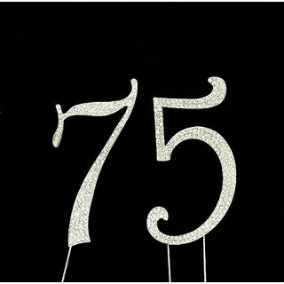 Large 75th Birthday Number Cake Topper with Sparkling Rhinestone Crystals - 4 1/2