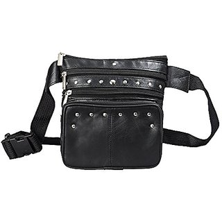 Leather Fanny Pack Black Leather Waist Bag Pack for Women By Bayfield BagsTM