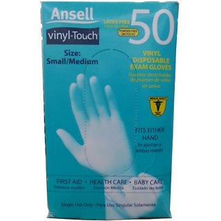 Ansell Vinyl Touch Disposable Exam Gloves Small/Medium 50ct