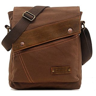 Bagtopia Mens Vintage Small Canvas Shoulder Messenger Bag Crossbody iPad Bags