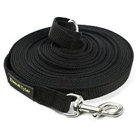 Dean & Tyler Track Single Ply Black Nylon 60-Feet By 3/4-Inch Dog Leash With A Ring On Handle And Stainless Steel Snap H