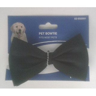Black Bowtie for Pets - Adjustable Length Fits up to 14 Inch Neck
