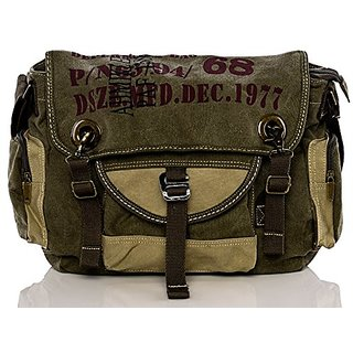 Vintage Canvas Army Style Over the Shoulder Messenger Bag