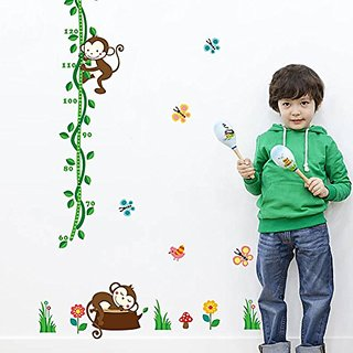 Lovely Monkey Butterflies Green Branches Height Measurement Growth Chart Wall Stickers Removable Wall Vinly Decal Decor