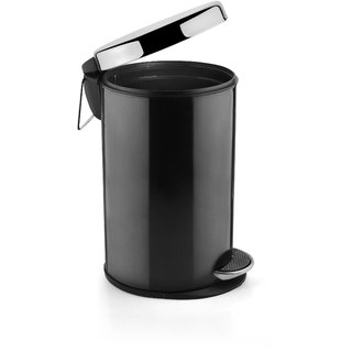 HMSTEELS Stainless steel Pedal Dustbin Plain with Black Color 7 Ltr(20 35 cm) With plastic Bucket Inside